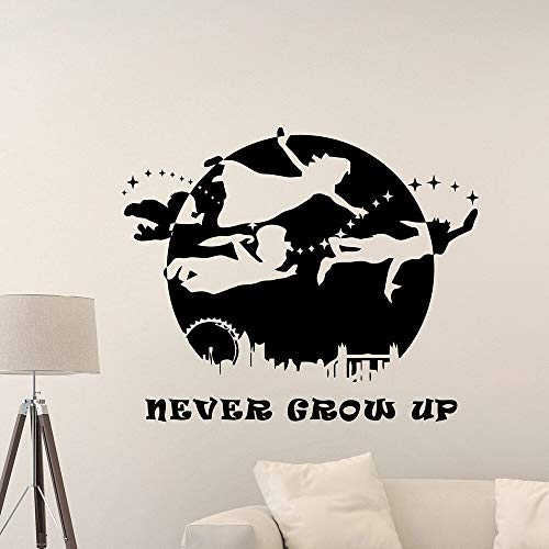 Never grow up Peter Pan Logo Walter vinilo adhesivo de pared adecuado para niñas niños niños