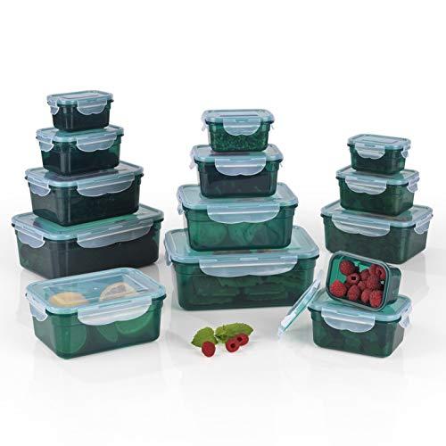 GOURMETmaxx Frischhaltedosen Klick-it 28 tlg. | Spülmaschinen- Mikrowellen- und Gefrierschrankgeeignet | Deckel BPA-frei mit 4-fach-Klick-Verschluss | Ineinander stapelbar [in 4 Größen, smaragdgrün]