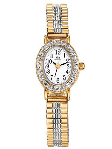 Meister Anker Damen Quarzuhr – Armbanduhr mit Analog-Anzeige, Bicolor Metall-Uhr mit Edelstahl-Armband, edle Damen-Uhren, in Gold