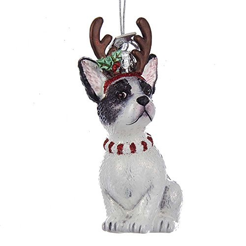 Kurt S. Adler Kurt Adler Noble Gems French Bulldog with Antlers Glass Ornament