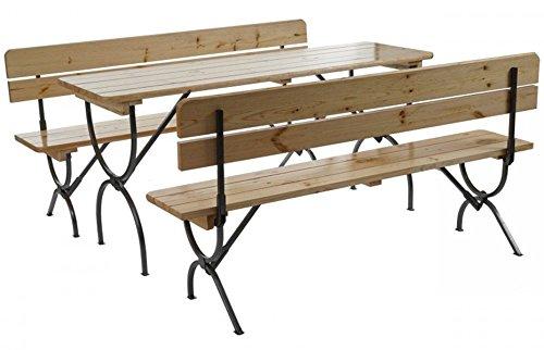 PEGANE Lot de 2 bancs d'assise avec Dossier Coloris Naturel - Dim : H 81 x l 60 x L 80-150 cm