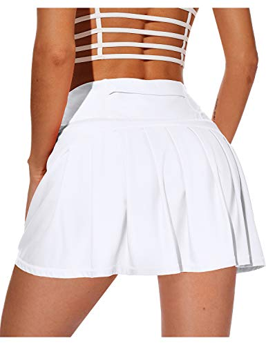 XIEERDUO Athletic Tennis Golf Skirts with Shorts Pockets Active High Waisted Running Skorts White M