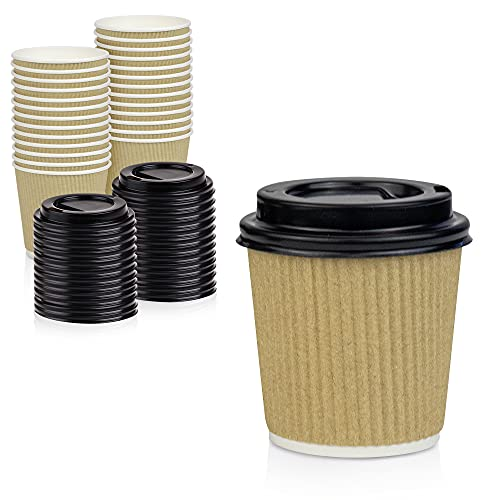 [50 Pack] Disposable Hot Cups with Lids - 4 oz Brown Double Wall Insulated Ripple Sleeves Coffee Cups with Black Dome Lid - Kraft Paper Cup for To Go Chocolate, Tea, and Cocoa Drinks