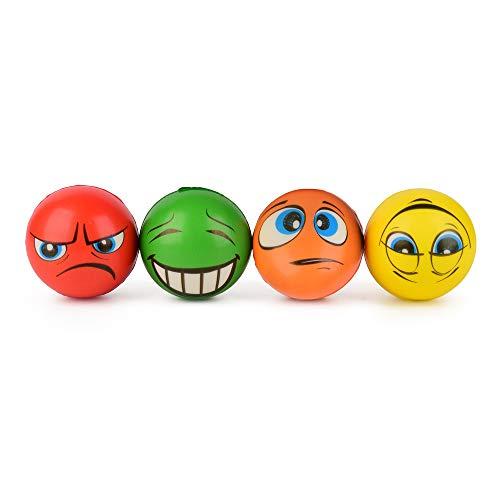 ewtshop® 4er Set Anti-Stress-Bälle, 4 unterschiedlichen Motiven, 6 cm Durchmesser, Knautschball, Knetball