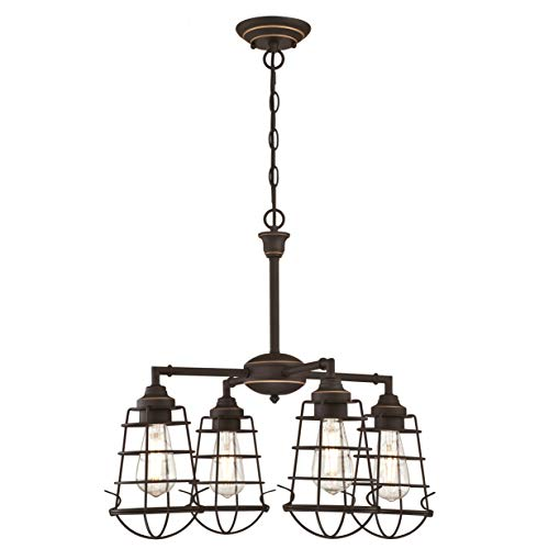 63670 Nolan – kooivormige verlichting met vier vlammen, van Westinghouse Lighting voor binnen, uitvoering in geolied brons met accenten en kooivormige lampenkappen