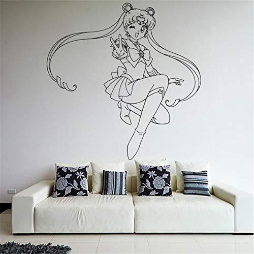 Cartoon Wohnkultur Wand Vinyl Aufkleber Aufkleber Anime Manga Sailor Moon Girl Room Wandaufkleber 60 x 58 cm