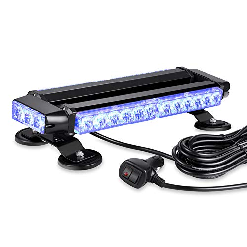 AT-HAIHAN Waterproof 30W Magnetic Rooftop Blue LED Emergency Strobe Flashing Light Bar for Volunteer Firefighter Trucks EMS Law Enforcement Vehicles Police Car Safety Warning