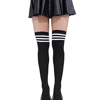 HugeStore Women Ladies Stripe Cotton Casual Long Socks Over Knee Socks Thigh Knee High Stockings Black White