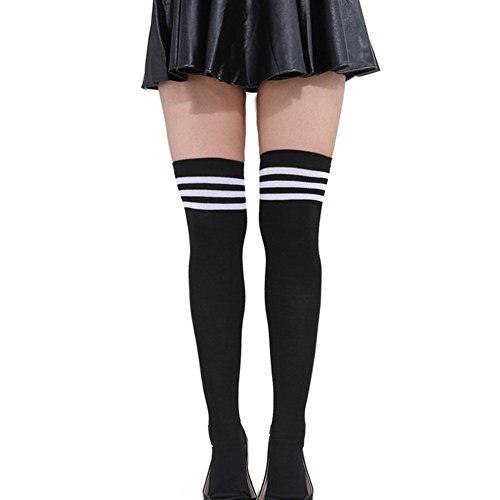 HugeStore Damen Frauen Lange Streifen Socken Overknee Strümpfe Kniestrumpfe Strumpfhose Socken Schwarz-Weiss