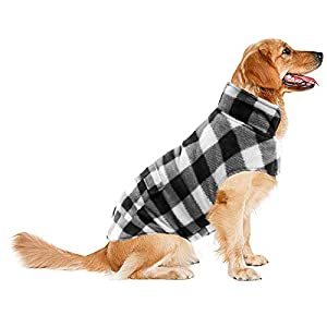 ASENKU Dog Winter Coat, Dog Fleece Jacket Plaid Reversible Dog Vest Waterproof Windproof Cold Weather Dog Clothes Pet Apparel for Small Medium Large Dogs (L, White)