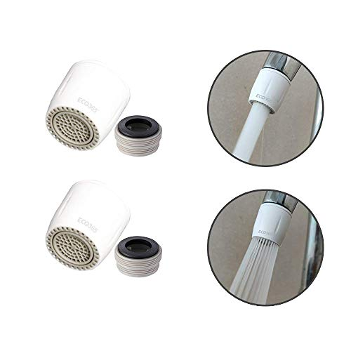 ECO365 ABS Dual Flow Switch Aerator with Tap Thread Converter (White) -Pack of 2