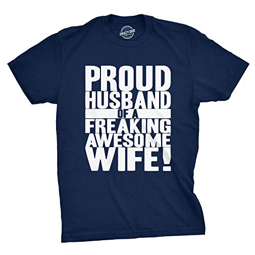 Crazy Dog T-Shirts Mens Proud Husband of a Freaking Awesome Wife Funny Valentines Day T Shirt (Navy) - XL