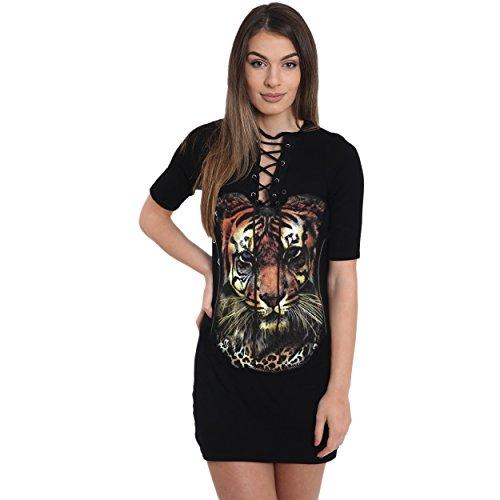 AHR_Manchester_LTD Womens Ladies Multicolored Tiger Lion Wild Souls Print Laser Cut Choker Neck Longline Short Sleeve T Shirt Dress UK 8-14 (M/L (UK 12-14), Eyelet Brown Lion Print)