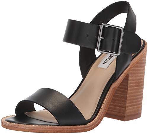 Price comparison product image Steve Madden Women's Castro Heeled Sandal,  Black Leather,  8 M US