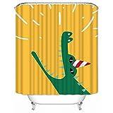 Duschvorhang Gelbgrünes Krokodil Shower Curtains Polyester Textil Duschvorhänge Wasserabweisend Antischimmel Shower Curtain Badewanne Anti-Bakteriell Mit 12 Duschvorhangringen 180x220cm