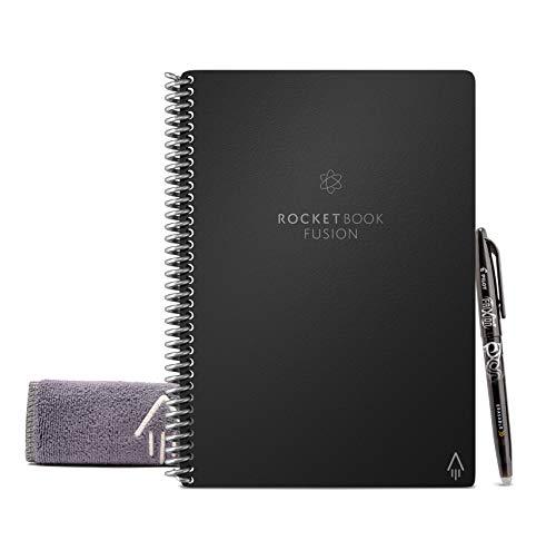 Rocketbook Fusion Wiederverwendbares Notizbuch - Schwarz, Executive A5, 7 Seitenvorlagen mit Kalender, To-Do Liste, Punktraster und Linierte Seiten, Inklusive FriXion Stift und Mikrofasertuch
