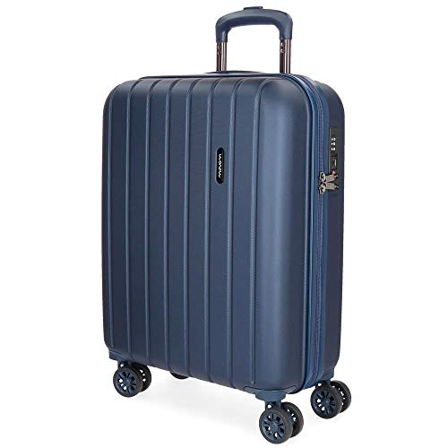 Movom Wood Maleta de cabina Azul 40x55x20 cms Rígida ABS Cierre TSA 38L 3,2Kgs 4 Ruedas dobles Extensible Equipaje de Mano