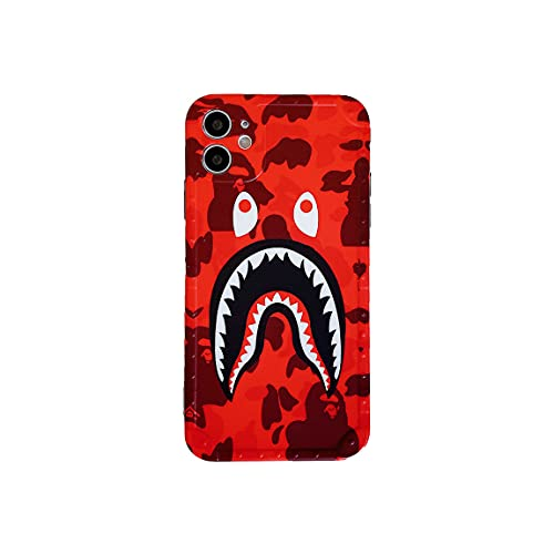 KUBEKE iPhone 11 Case, Street Fashion Shark Teeth/Shark Face Cartoon Designed Soft iphone11 6.1' Cover, Sleek Smooth Non Faded Slim Protective Anti-Scratch Case for iPhone 11 6.1 Inch [RED-YU6.1]