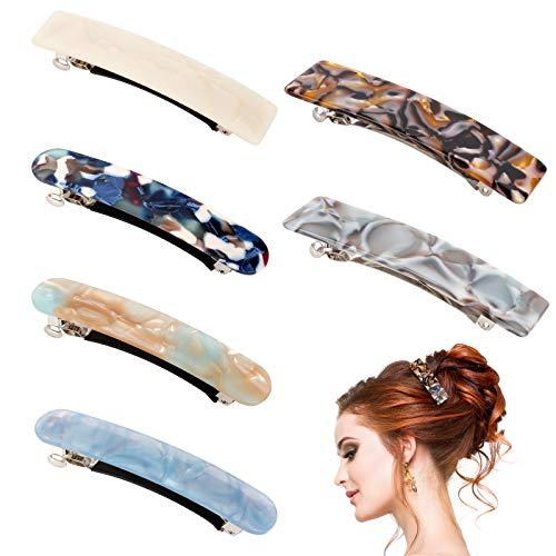 6 Stücke Frauen Haarspange, Französische Haarclips Für Damen Retro Acryl Haarclip 2xGroß 4xMittelgroß Rechteck Haarspange Haarschmuck für Dünnes Dickes Haar