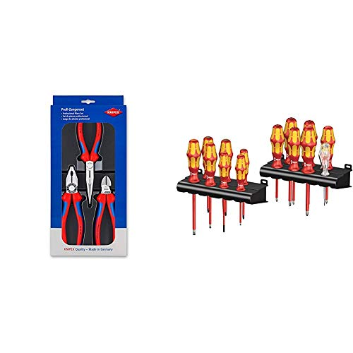 Knipex 00 20 11 – Montage-Paket mit drei Zangen & Wera Kraftform Big Pack 100 VDE, Schraubendreher Set 14-teilig, 05105631001
