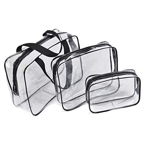 Bolsa de aseo portátil transparente con cremallera, 3 unidades, bolsa de maquillaje de PVC transparente, bolsa de almacenamiento, bolsa de almacenamiento para vacaciones, viajes, baño