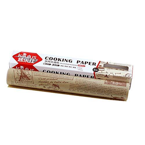 rethyrel Backpapier Roll-Cooking Pergament Papierrolle Antihaft-Backpapier Geschenk-Plätzchen-Ölpapier Für Barbecue-Brot Sandwich Burger Fries