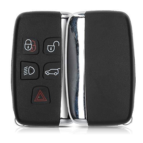 kwmobile Autoschlüssel Gehäuse kompatibel mit Land Rover Jaguar 5-Tasten Funk Autoschlüssel - ohne Transponder Batterien Elektronik - Auto Schlüsselgehäuse - Schwarz