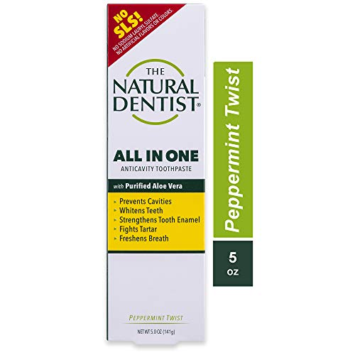 The Natural Dentist All In One Fluoride Toothpaste with Aloe, Peppermint Twist,...