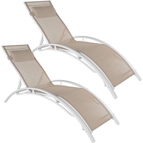 TecTake 800675 - Set de 2 Tumbonas, Impermeable, Incluye Reposacabezas, Respaldo Regulable en 5 Posiciones (Beige | No. 403065)