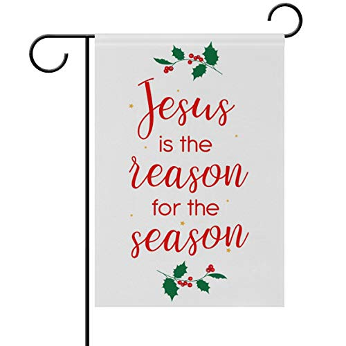 Yochoice ALAZA Jesus is The Reason for Season Polyester Garden Flag House Banner 12 x 18 inch, Two Sided Welcome Yard Decoration Flag for Wedding Party Home Decor