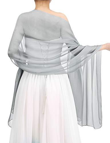 Bbonlinedress Schal Chiffon Stola Scarves in verschiedenen Farben Silver 180cmX72cm