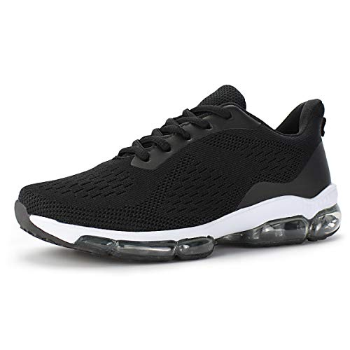 Hawkwell Women's Air Cushion Breathable Knit Walking Running Sneakers, Black Knit, 8 M US