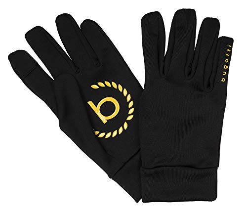 Bugatti Herrenhandschuhe Handschuhe Touch-Screen-Funktion Schwarz/Gelb 8629, Farbe:Schwarz, Größe:XXL