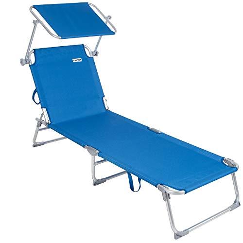 Casaria Sonnenliege Ibiza Aluminium Sonnendach 190cm Gartenliege Strandliege Alu Liege Freizeitliege Graphitgrau