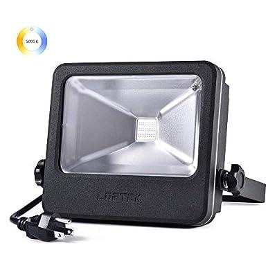 LOFTEK LED Flood Light, 30W 4000lm 5000K Daylight White COB Plug in Outdoor Light, IP 66 Waterproof Super Bright Floodlight(Black) (Renewed)