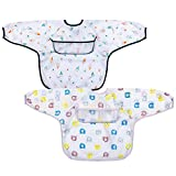 Pejoye BaberosBebeImpermeables, BaberosconMangas 2 Piezas Unisex Impermeables Baberos con Mangas para Bebés Recién Nacidos Niños Pequeños de 6 a 12 Meses
