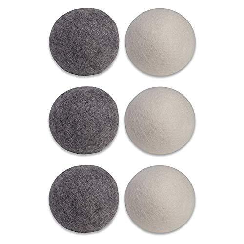 Uteruik Trocknerbälle, Bio-Wolle, dunkel, natürlicher Weichspüler, 6 Stück (7 cm)
