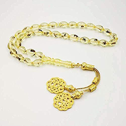 Necklace Real Insect 33 Tasbih Golden Kazaz Tassel Eid Gift for Muslim Prayer Beads Rosary Man S Misbaha Islamic Turkish Resin Bracelets