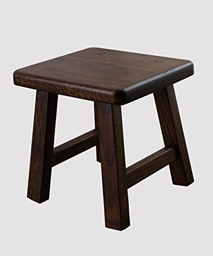 WUFENG Portable Nature Rubberwood Rectangle Tabouret Petit Banc, Couleur Bois, Couleur Noyer Noir, 27 * 24 * 27cm (Couleur : Black Walnut Color)