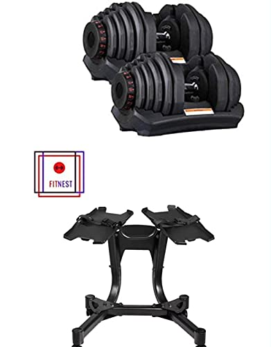 FITNEST SET OF 2 ADJUSTABLE DUMBBELLS 10 TO 90 LBS 180 LBS TOTAL. (DUMBBELL STAND INCLUDED) 36 DIFFERENT WEIGHTS