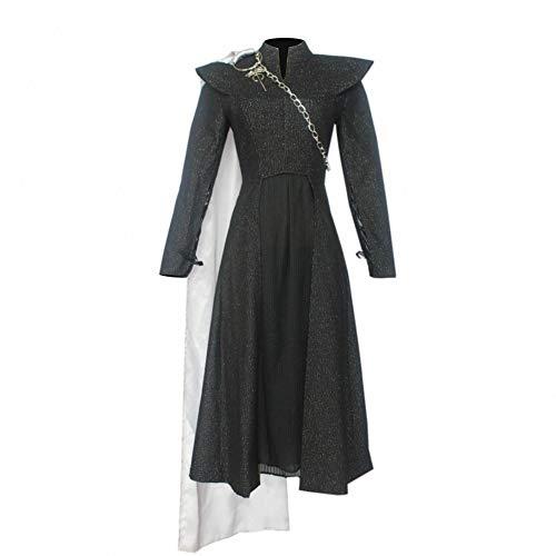 Calistouk - Disfraz de Juego de Tronos Temporada 7 Daenerys Targaryen para Cosplay, Vestido de Fiesta Negro con Capa