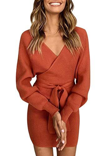 Pulloverkleid Damen Kleider Elegant Strickkleid V-Ausschnitt Langarm Tunika Kleid Minikleid Mit Gürtel (Braun, S)