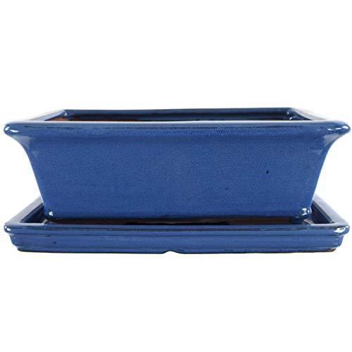 Bonsaischale mit Untersetzer 29.5x22.5x10.5cm Blau Rechteckig Glasiert