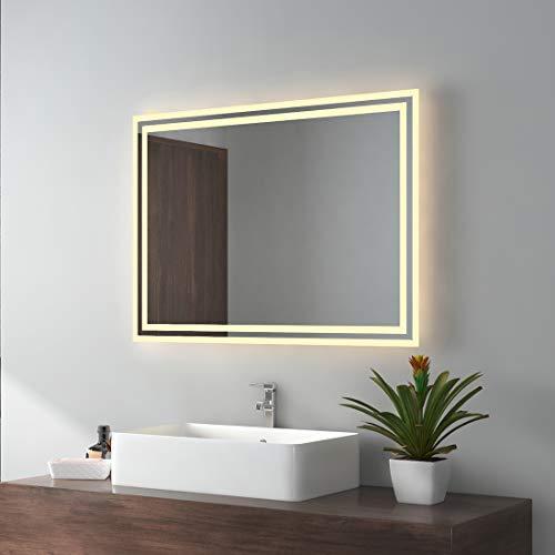 EMKE Espejo de baño con Espejo de Pared LED con iluminación Espejo de baño clásico con Interruptor + Dos métodos de suspensión, IP44, Ahorro de energía, luz cálida (80x60cm)