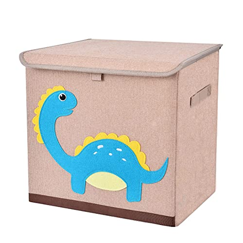 Fabric Toy Storage Bins with Lids, Cube Collapsible Stackable Toy Box/Chest/Organizer/Basket with Handles for Boy, Girl, Baby, Dinosaur 13'' inch Storage Container for Kids Clothes, Book, Lego