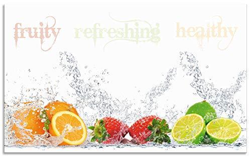 Artland Spritzschutz Küche aus Alu für Herd Spüle 90x55 cm Küchenrückwand mit Motiv Obst Früchte Orange Limette im Wasser Spruch Modern Hell S6JP