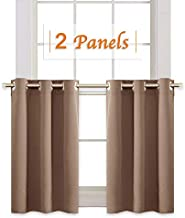 RYB HOME Blackout Window Covering Privacy Drapes for Bath, Half Window Blinds Tiers Sunlight Faded Shades for Nursery/Cafe Shop/Closet, Wide 42 inch x Long 36 inch, Mocha, 2 Panels