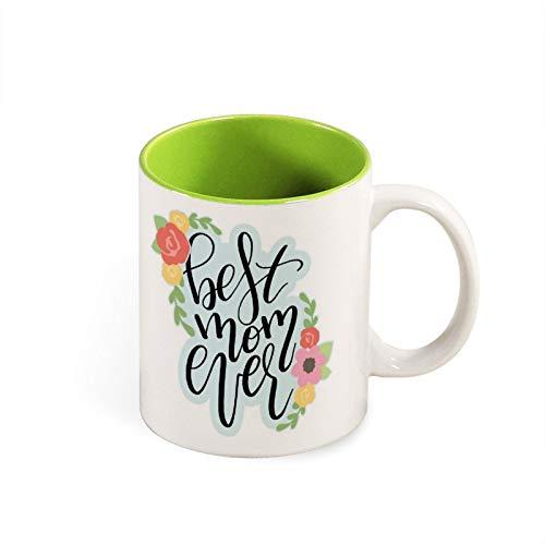 Taza con diseño floral para el día de la madre, cumpleaños, taza de café, taza de la mejor mamá, divertida y colorida taza de cerámica para regalos
