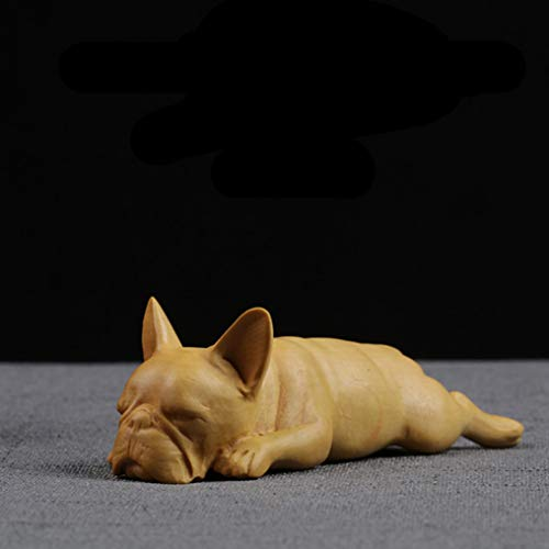 UKURO Cute French Bulldog Statue Animal Figurines Carving Dog Sculpture Wooden Art & Craft Home Decoration Accessories