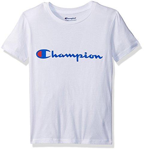 Champion Big Boys Heritage Short Sleeve Tee, White Script, Medium